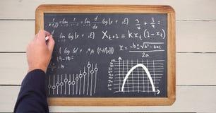 Уровнения математики сочинительства руки на классн классном Стоковое Фото
