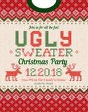 Уродская рождественская вечеринка свитера приглашает Связанные орнаменты скандинава картины предпосылки Стоковые Изображения RF