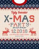 Уродская рождественская вечеринка свитера приглашает Связанные орнаменты скандинава картины предпосылки бесплатная иллюстрация
