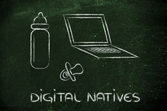 Уроженцы цифров: компьтер-книжка, подавая бутылка и PA иллюстрация штока