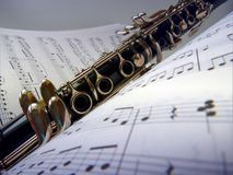 Уроки музыки на кларнете стоковые фото
