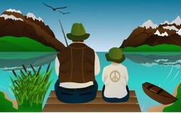 уроки рыболовства Иллюстрация вектора