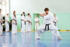 Урок в школе карате Стоковая Фотография RF
