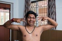 Урок танца Kathakali классический индийский в коллаже искусства в Индии Стоковая Фотография
