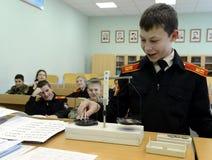 Урок физики в корпусе кадетов полиции Стоковое Изображение RF