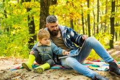 Урок экологичности Школа леса и образование экологичности Отец человека бородатый и маленький сын с ноутбуком в экологичности лес стоковая фотография