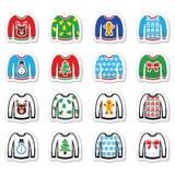 Уродский свитер рождества на установленных значках шлямбура Стоковое фото RF