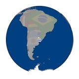 Уругвай на политическом глобусе Стоковые Изображения