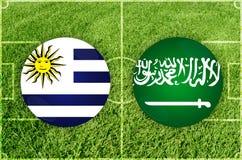 Уругвай против футбольного матча Саудовской Аравии Стоковое фото RF