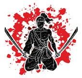 Усаживание воина самурая с графиком мультфильма шпаг иллюстрация вектора