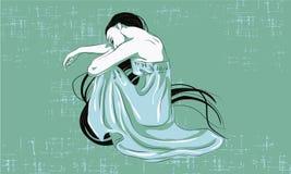 усаживание девушки унылое бесплатная иллюстрация