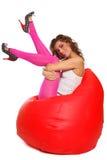 усаживание девушки фасоли мешка сексуальное Стоковые Фотографии RF