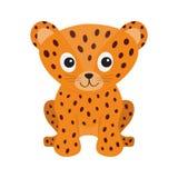 Усаживание леопарда ягуара Сторона одичалого кота усмехаясь Оранжевая пантера с пятном иллюстрация вектора
