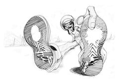 Усаживание и палец велосипедиста указывая к ботинкам иллюстрация вектора