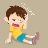 Усаживание мальчика имеет головокружение Стоковая Фотография