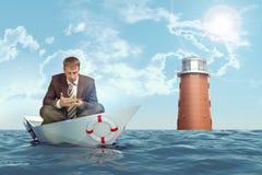усаживание положения лотоса бизнесмена Стоковая Фотография RF