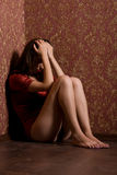 усаживание ретро комнаты девушки унылое Стоковое Фото