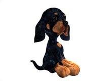 усаживание щенка шаржа иллюстрация вектора