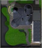 Усадьба благоустраивая сводный план, воздушный Стоковое Изображение RF