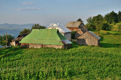 Усадьба на зеленом наклоне в Carpatians стоковое изображение rf