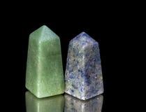 Усеченные пирамиды от зеленого и голубого кварцита Стоковые Фотографии RF