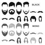 Усик и борода, значки стилей причёсок черные в собрании комплекта для дизайна Стильная сеть запаса символа вектора стрижки бесплатная иллюстрация