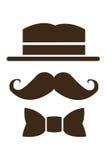 усик шляпы и значок bowtie стоковые фотографии rf