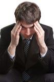усиленная головная боль бизнесмена утомлянной стоковое изображение rf