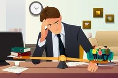 Усиленный бизнесмен выбирая между карьерой и семьей иллюстрация штока