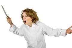 Усиленный вне женский шеф-повар Стоковая Фотография RF