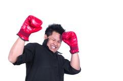 Усиленный человек при перчатка изолированная на белизне Стоковое фото RF