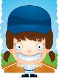 Усмехаться бейсболиста девушки шаржа иллюстрация вектора