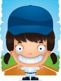 Усмехаться бейсболиста девушки шаржа иллюстрация штока
