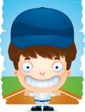 Усмехаться бейсболиста мальчика шаржа иллюстрация штока
