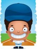 Усмехаться бейсболиста мальчика шаржа иллюстрация вектора