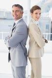 Усмехаться бизнесмена и женщины Стоковое Фото