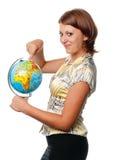 усмехаться выставок глобуса девушки Стоковая Фотография