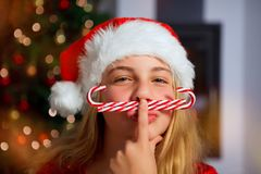 усмехаться девушки Рожденственской ночи Стоковые Фото