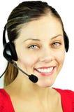 усмехаться девушки центра телефонного обслуживания стоковые фото