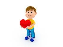 Усмехаться держащ сердце Стоковые Изображения RF