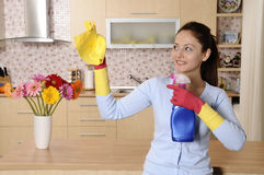 усмехаться дома девушки чистки стоковая фотография rf