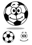 Усмехаться и белый характер футбола шаржа иллюстрация штока