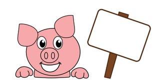 Усмехаться и голова счастливой свиньи с афишей иллюстрация штока