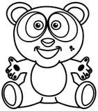 Усмехаться и счастливая панда в черно-белом с открытыми оружиями для красить иллюстрация штока