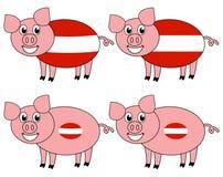 Усмехаться и счастливая свинья поднятые в Австрии бесплатная иллюстрация