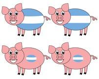 Усмехаться и счастливая свинья поднятые в Аргентине иллюстрация вектора