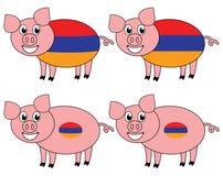 Усмехаться и счастливая свинья поднятые в Армении иллюстрация вектора