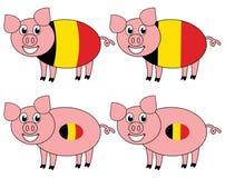 Усмехаться и счастливая свинья поднятые в Бельгии иллюстрация вектора