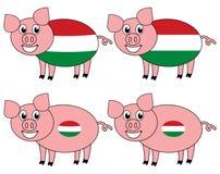 Усмехаться и счастливая свинья поднятые в Венгрии иллюстрация вектора