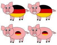 Усмехаться и счастливая свинья поднятые в Германии иллюстрация штока